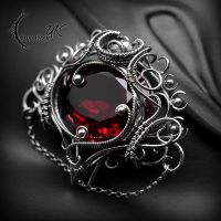 Brooch XENYTRALL - Silver and Red Quartz. by LUNARIEEN
