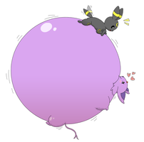 (Art trade) Umbreon inflating Espeon some more by MrSatsuma