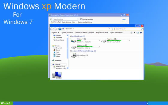 Windows XP Modern style theme for Windows 7 by CheezeyGaming