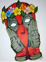Flower crown Deadpool by ghostcutter