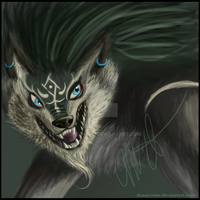 Wolf Link Painting by morga-ham