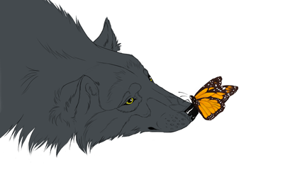 wolf lineart by 4th-moon