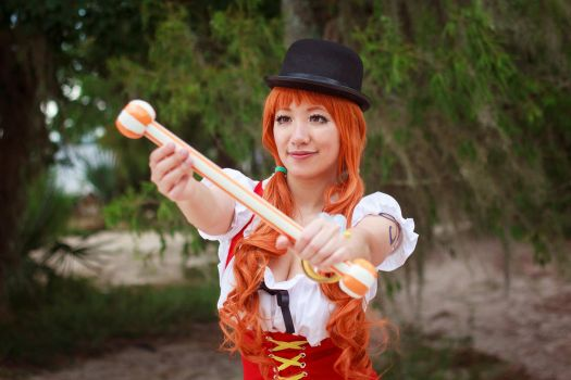 Nami Admires New Climatact, One Piece Cosplay by firecloak