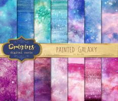 Painted Galaxy Backgrounds by OriginsDigitalCurio