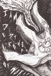 Inktober - HORROR Slifer the Sky Dragon by ArwingPilot114