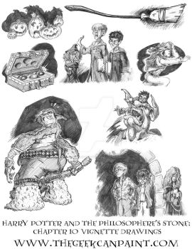 Harry Potter: Book 1 Chapter 10 Vignette Drawings by TheGeekCanPaint