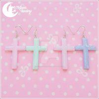 Sparkling cross (different colors) Earrings by CuteMoonbunny