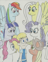 Fiona and the Mane Six by SqueakyNoodle