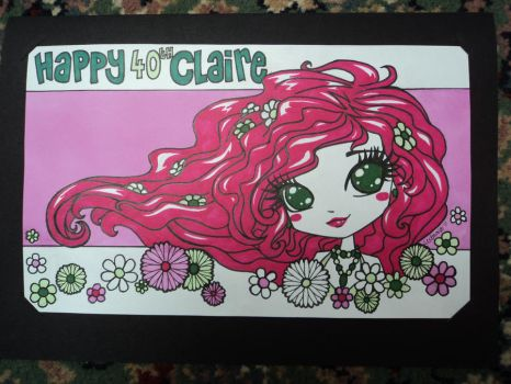 Comission - Claire 40th card by lexemon