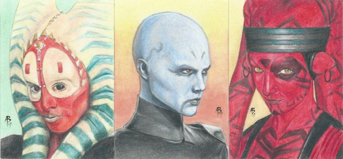 Star Wars Sketch Card commissions by abraun