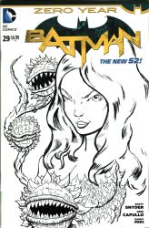 Batman Sketch Cover poison ivy Inks by mentaldiversions