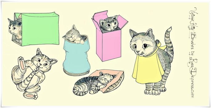 Retro Cute Kitties  High Res PS brushes by iCatchUrDream