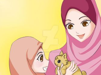 Happy Family_Mom, Daughter and Kitten by GlowingRadiance