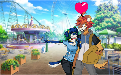 Vday pic- Rusty and Robin at the amusement park by RustyDaPup