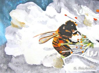 Bee with Flower (painting) by eyeqandy