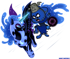 Nightmare Moon vs Dark Gumball by WaniRamirez