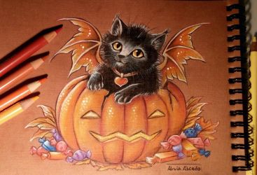 Halloween kitty by AlviaAlcedo