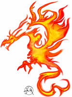 flaming dragon by Midniteoil-Burning