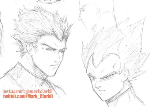 Dragon Ball Sketches- Vegeta by Mark-Clark-II