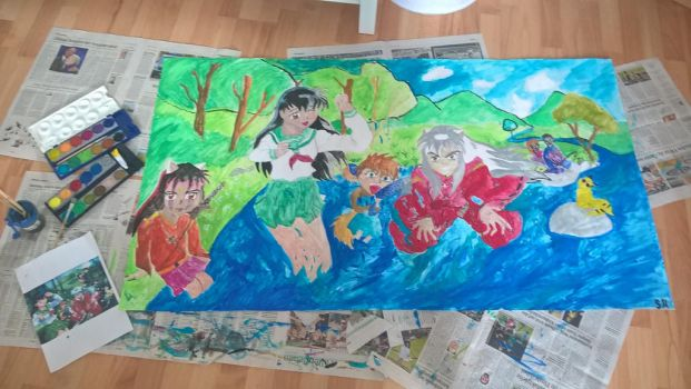 painting inuyasha by FLASHER12