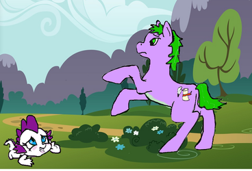 Spike and Rarity switch places by kittygirl101202