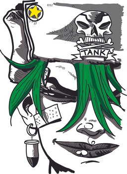 Digital Painting - Illustrator, Proj 2 - Tank Girl by Masharia