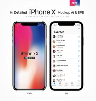 Free Apple iPhone X Mockup Ai and PSD by Designbolts
