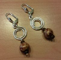 wooden beads with silver spirals earrings by syn-O-nyms
