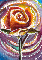 ATC-the magic of rose in watercolour by ElifiaArt