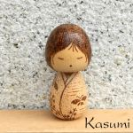 Kasumi cute wood burned kokeshi doll by YANKA-arts-n-crafts