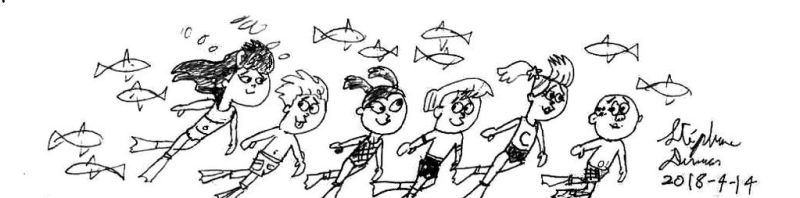 Timmy and his friends underwater by stephdumas