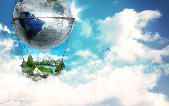 Floating Country by kandiart