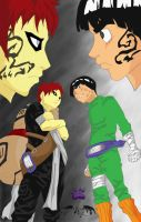 Gaara Vs Rock Lee Coloured by l3xxybaby