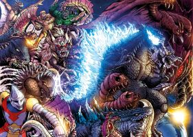 Godzilla Rulers of Earth #25 wraparound cover by KaijuSamurai