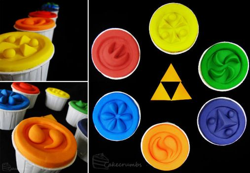 Ocarina of Time: Sage Medallion Cupcakes by cakecrumbs
