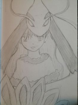 SKETCH: A Pokemon girl with Mioltic by cloverhoneysweet
