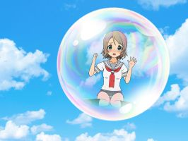 You inside bubble floating in the sky by sunnyDg