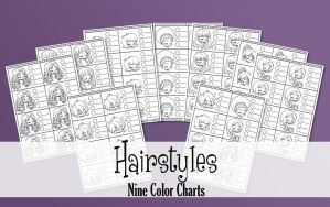 Hairstyles - 9 Printable Color Charts by YamPuff