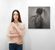 Me with my painting by ZarinaSitumorang