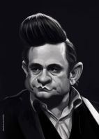 Johnny Cash caricature painting by crazedude
