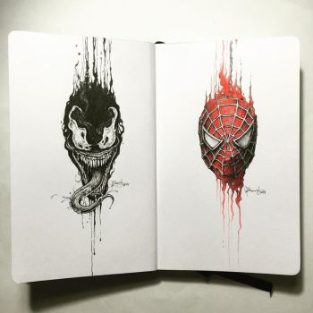 The Dripping Portraits: Venom x Spider-Man by kerbyrosanes