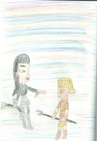 Heather gives her son his glaive by Kelseyalicia