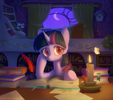 Twilight in her library by Celebi-Yoshi