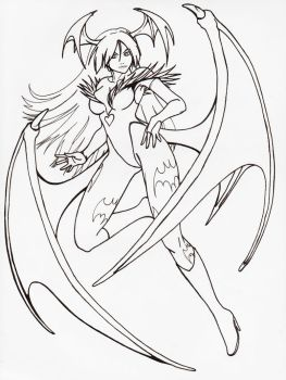 Morrigan - my style, clear draw by Takumagoroshi