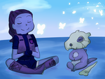 isabel and cubone in here comes a thought by MeowMix72