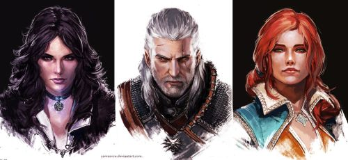 The Witcher portraits by YamaOrce