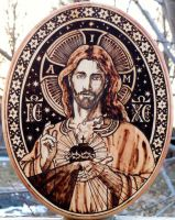 Sacred Heart Pyrography VI by Theophilia