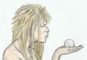 Naked Jareth kisses a crystal by gagambo