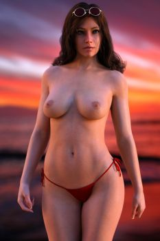 Gina topless sunset by FranPHolland