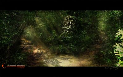 Forest Path Split by Victor-Lam-art